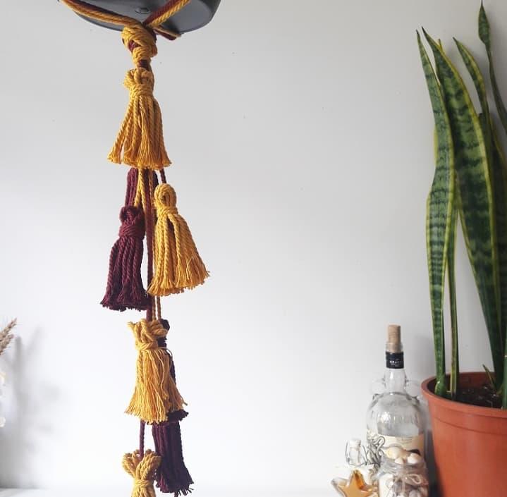 Planthanger en coton bicolore jaune safran et bordeaux rose amarante