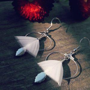 Boucles d'oreilles créoles argentées plumes blanches