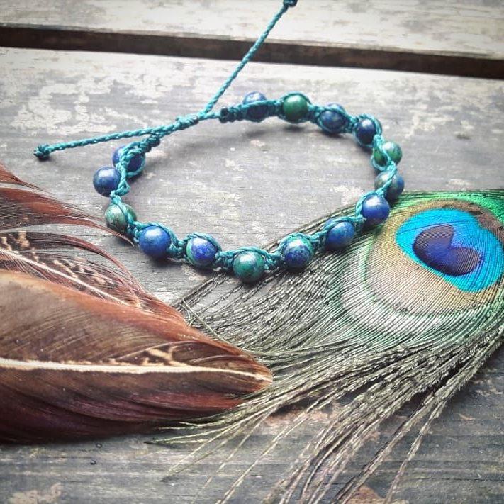 bracelet artisanal personnalisé sur mesure pierre fait main macramé