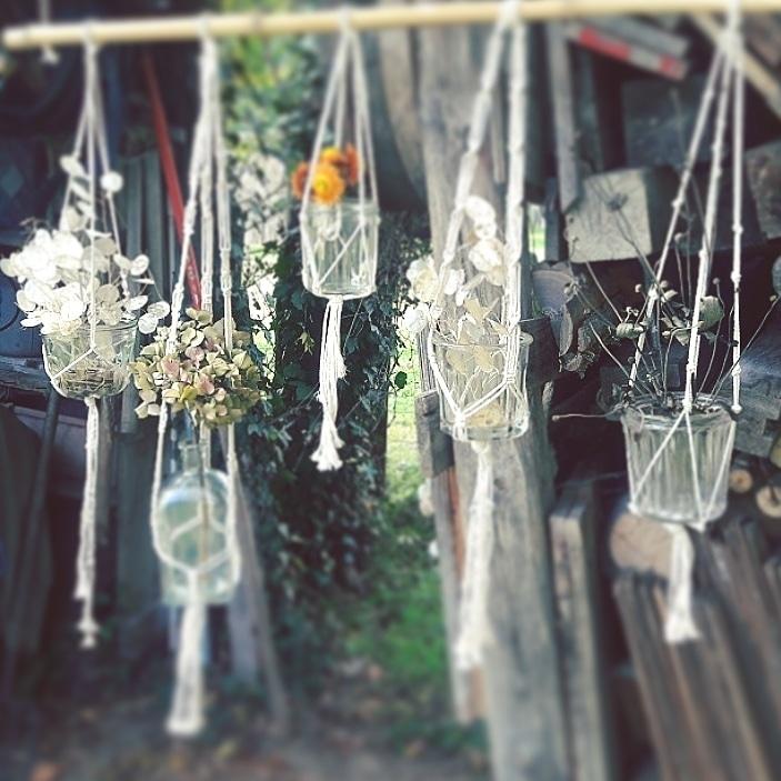 Suspension macramé bouquets secs fleurs séchées sur-mesure création personnalisée fait main