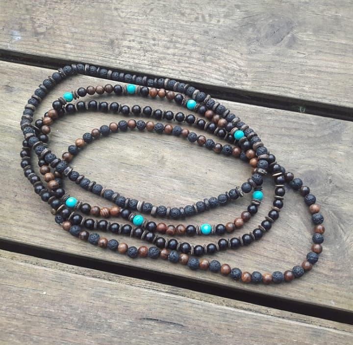 Bijoux bien-être lithothérapie aromathérapie méditation malas colliers bracelets homme artisanat fait main