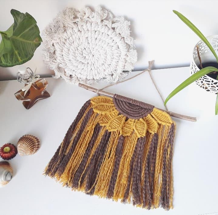 tournesol macramé fleur sunflower fait main artisanat français déco bohème hippie