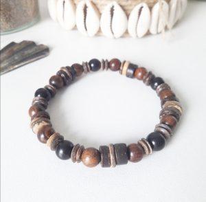 Bracelet en bois de santal et bois de coco