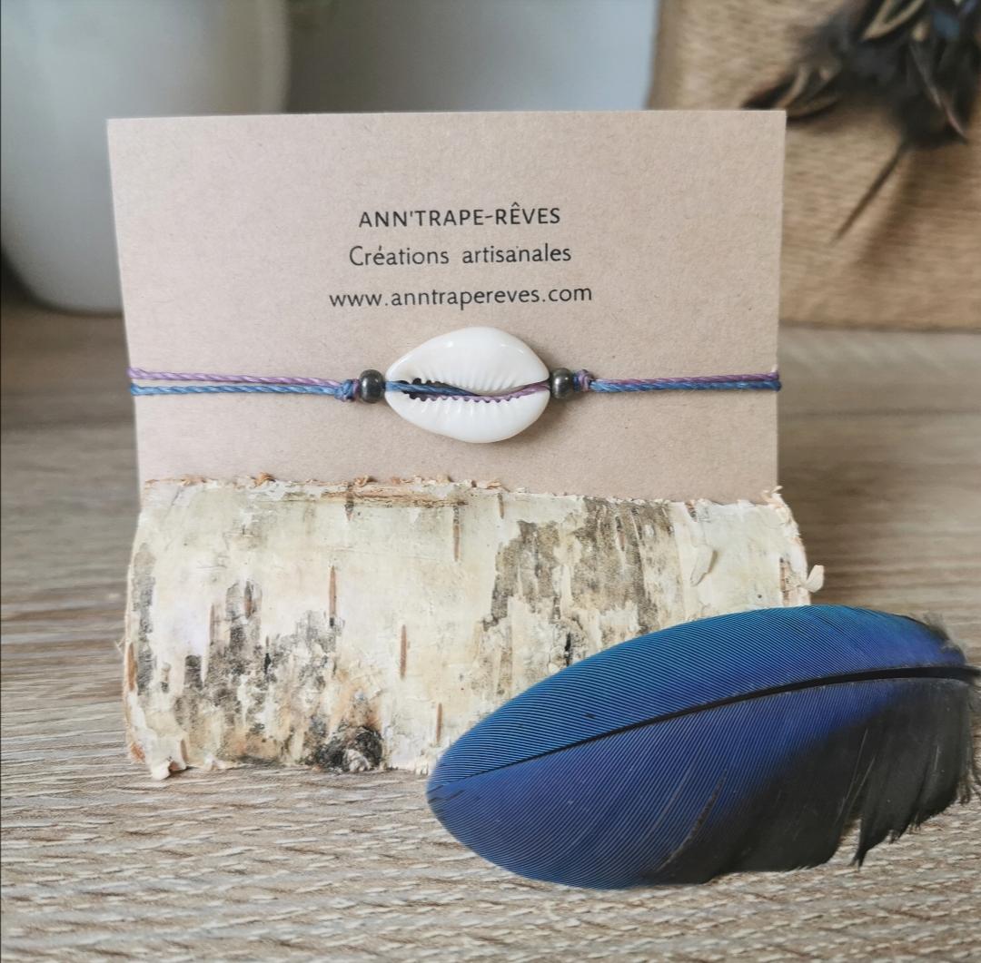 Bracelet coquillages cauris, artisanat français, bijoux faits main, créations bohèmes, bijoux naturels