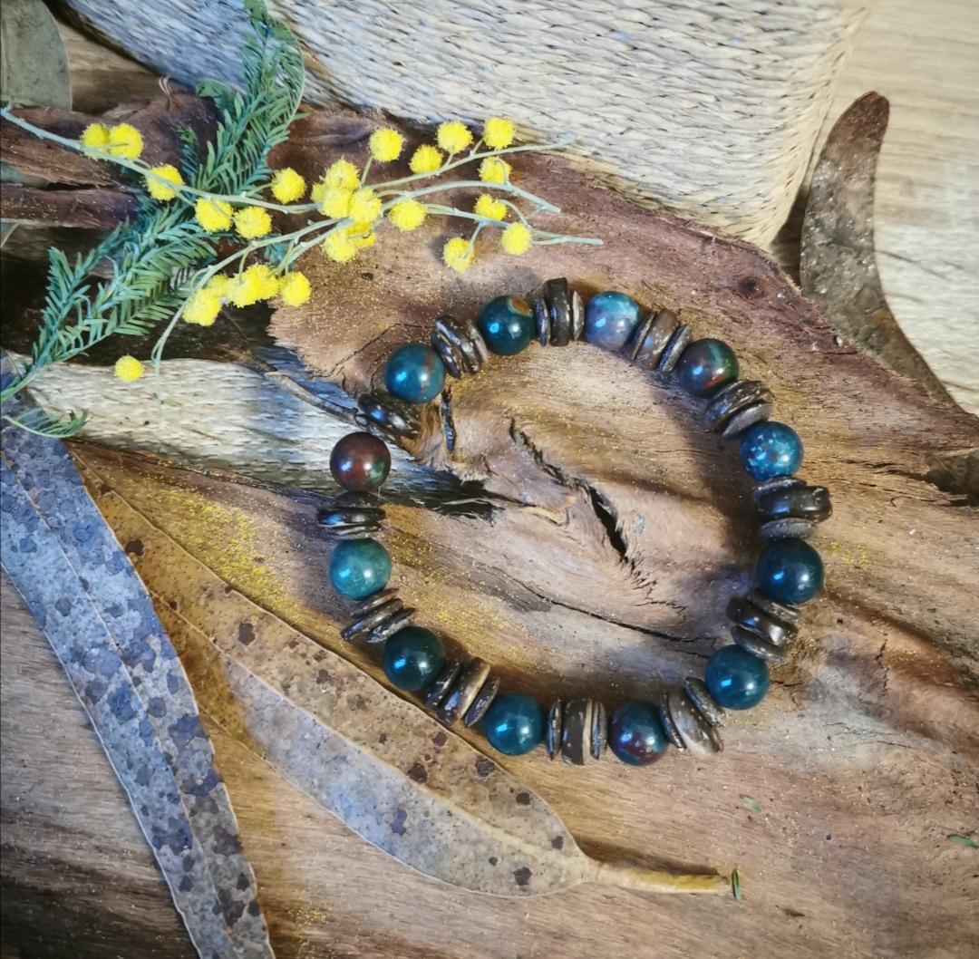 bijoux artisanaux, bracelet en pierre et bois, méditation, yoga, bijoux bohèmes, lithothérapie