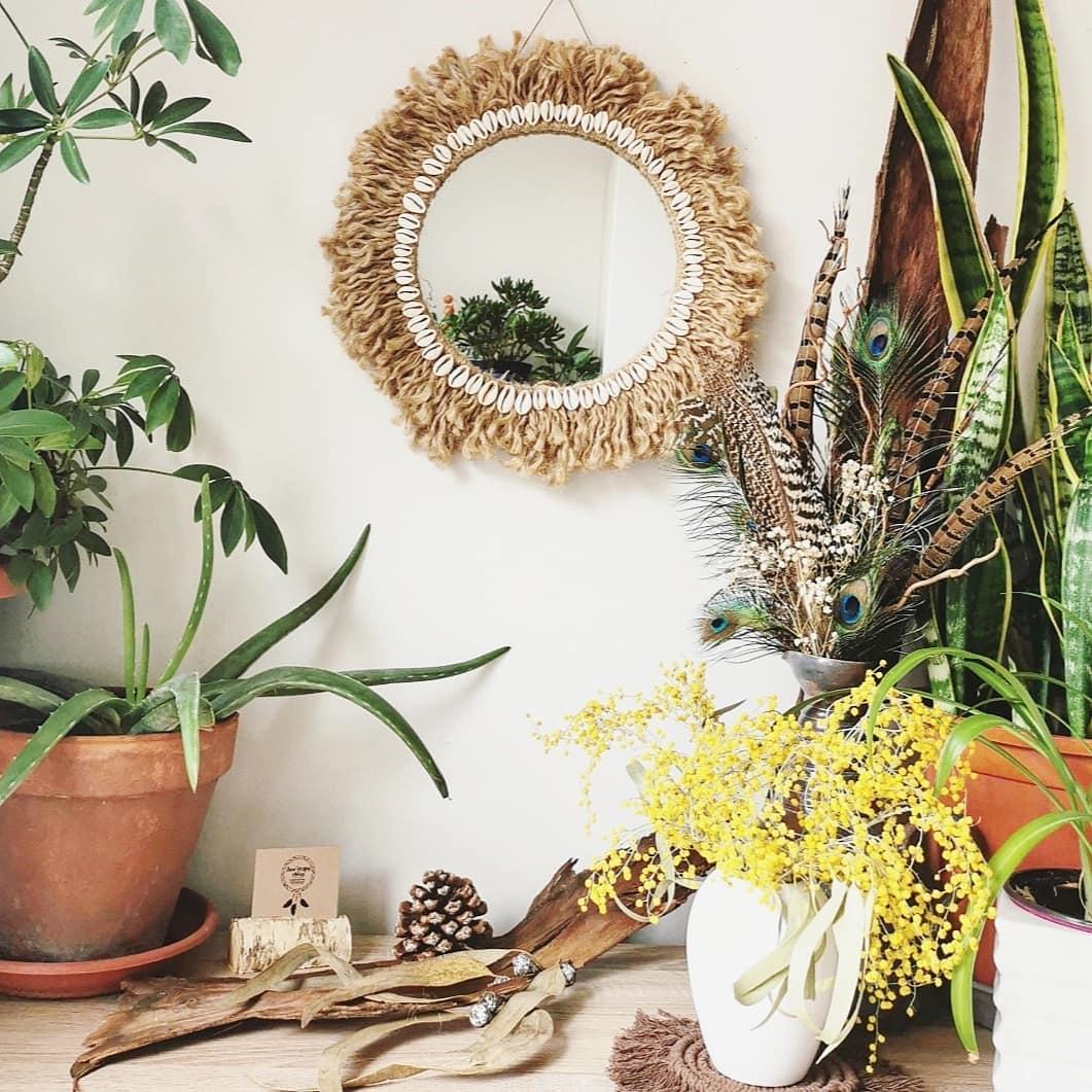 miroir artisanal, création unique macramé, fait main en France, artisanal, décoration bohème d'intérieur, déco murale