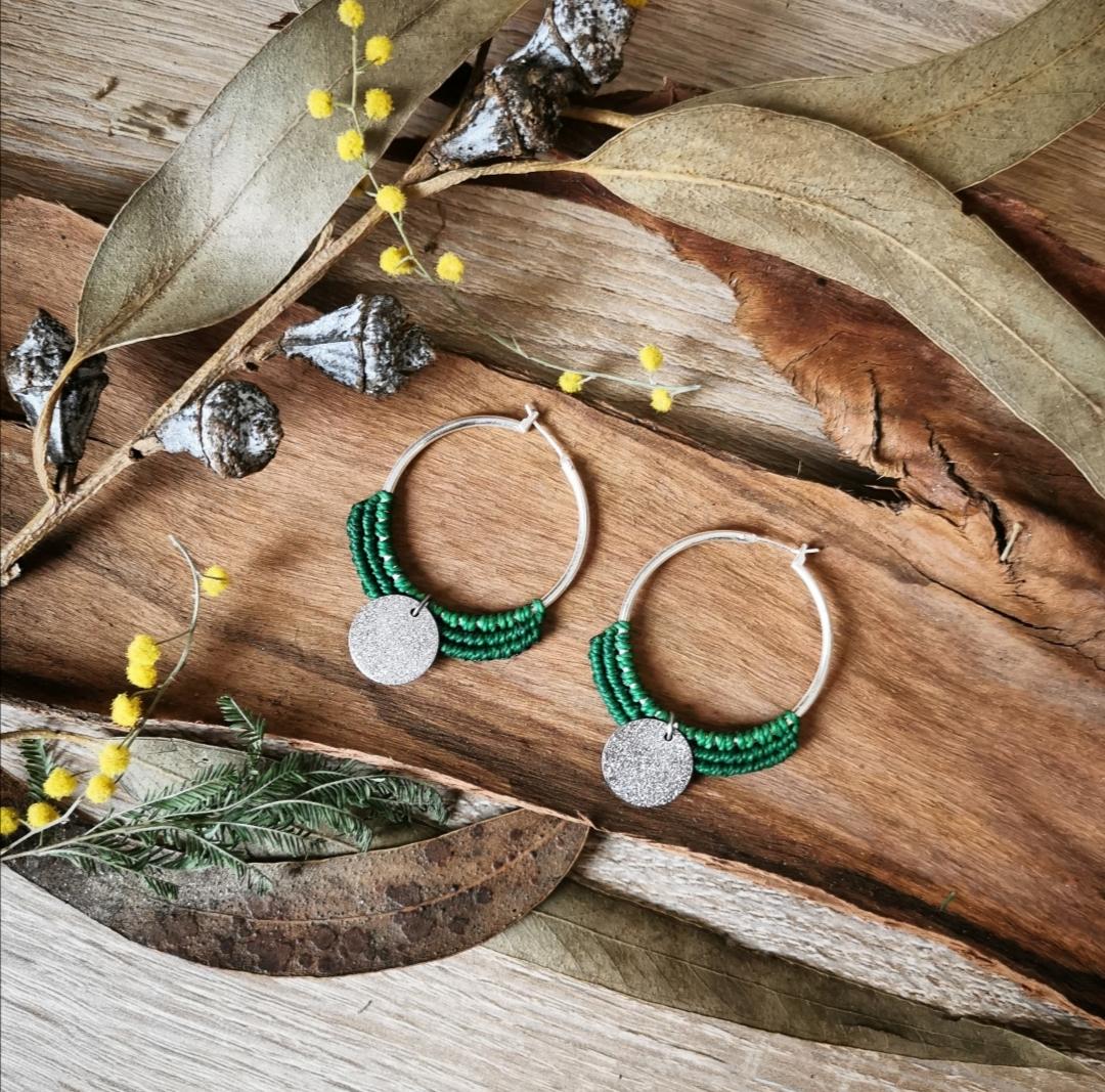 boucles d'oreilles macramé, bijoux artisanaux faits main en france, créations artisanales uniques, bijoux bohèmes chic