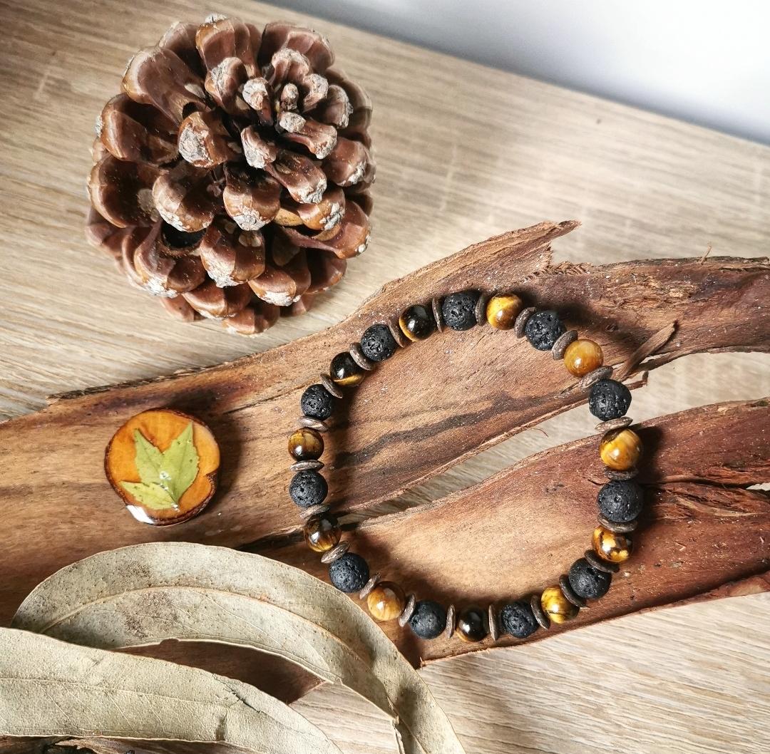 bracelet homme oeil de tigre, bijoux pierres gemmes, artisanat, mode, pierre de lave, bijoux homme