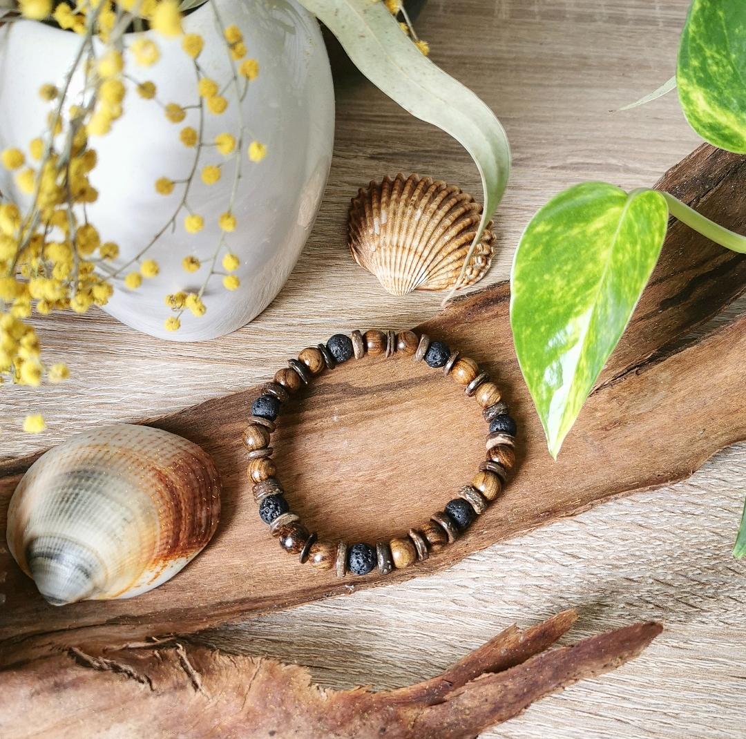 Bracelet lithothérapie, bijoux bien-être naturels, artisanat français, bohème, idée cadeau homme femme