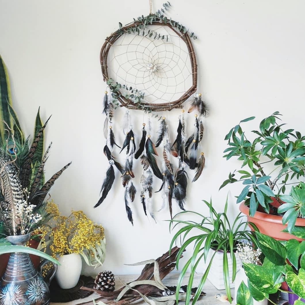 grand attrape-rêves artisanal, attrape-rêves géant fait main, dreamcatcher amérindien, création française, fait main en France, naturel