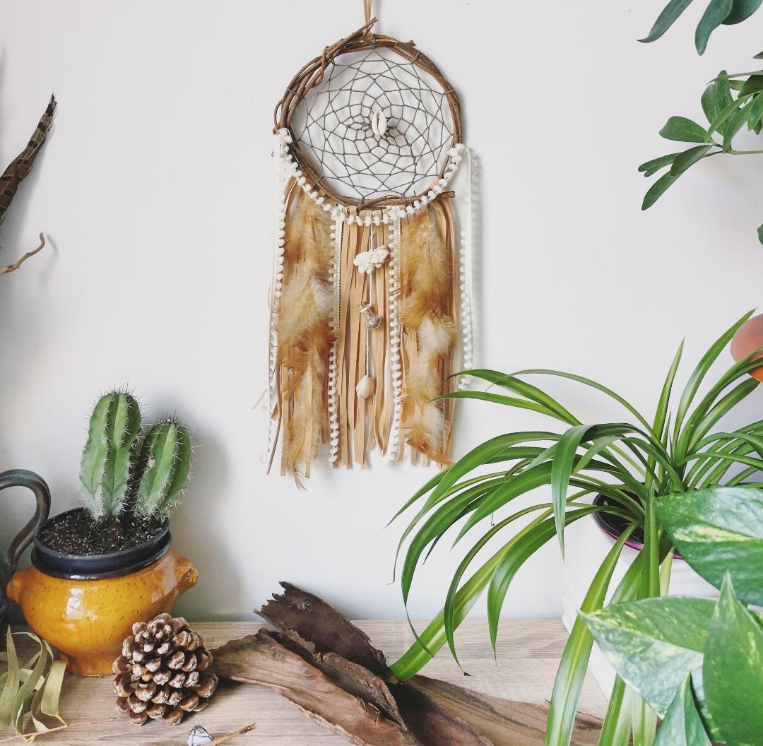Attrape-rêves coquillages, dreamcatcher artisanal, attrape-rêves naturel, attrape-rêves bohème, décoration murale d'intérieur