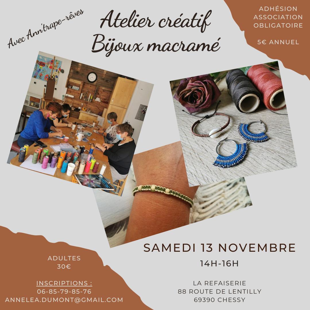 Atelier bijoux macramé, stage créatif DIY, Rhône-Alpes