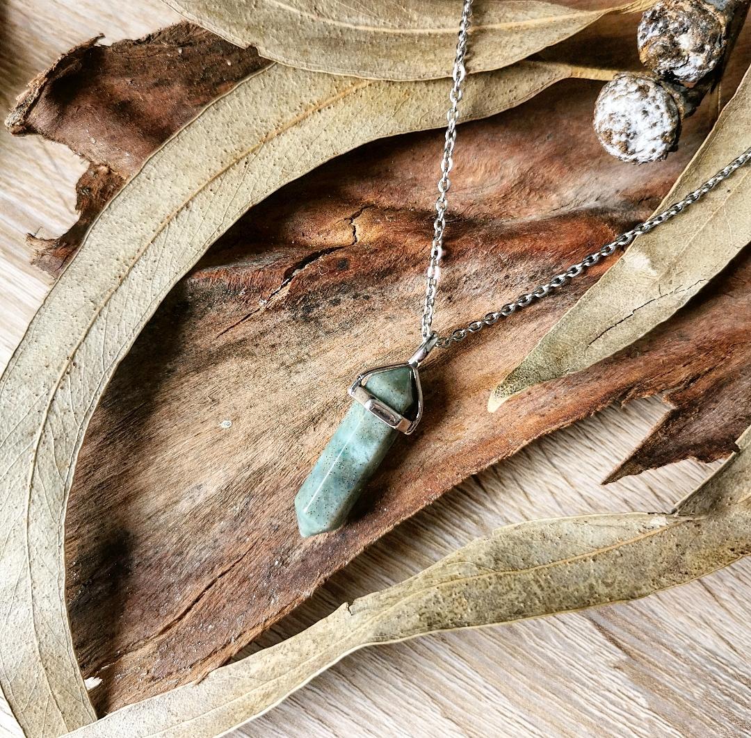 Collier pendentif pierre gemme agate indienne